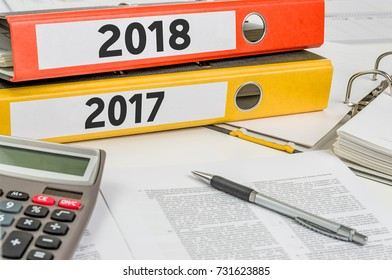 Folders with the label 2018 and 2017