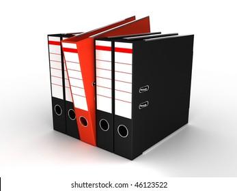 Folders on white background