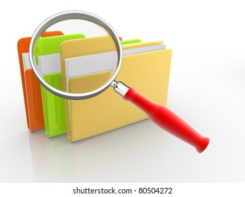 Folders with paper and magnifying glass. 3d render illustration