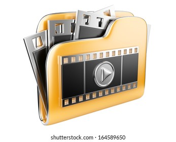 folders with a play button and film strip. 3d illustration isolated on a white