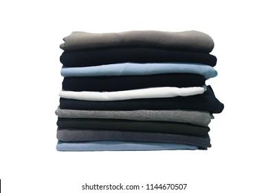 Folding cloths on white background, closeup