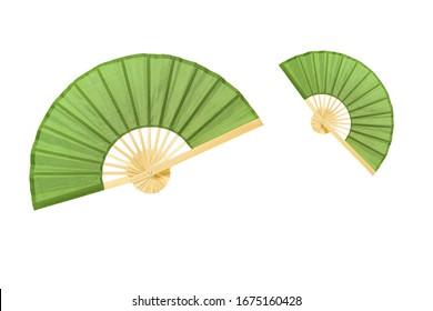 A folding fan on white background.