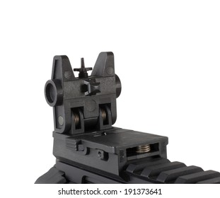 Folding front sight on a rifle that is adjustable that has been deployed