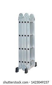 Folding Ladder In the open position on white background. convenient ladders ,Light weight, these ladders fold into a compact bundle for storing or carrying