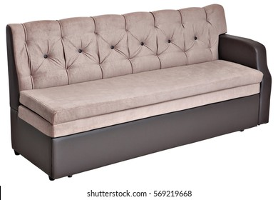 Folding light brown fabric sofa bed with storage,  isolated on white background, saved path selection.