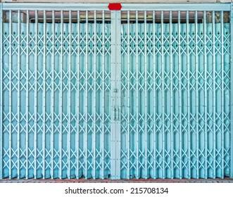 Folding Old Blue Metal Door Gate