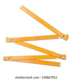 Folding ruler isolated on white