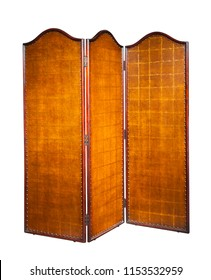 Folding screen of wood and leather isolated on white background. Clipping path.