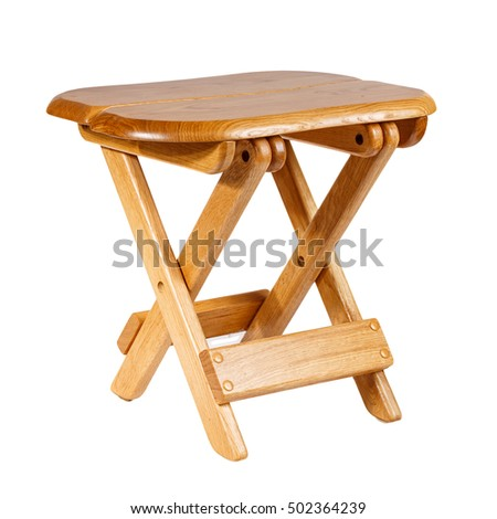 Amazing Folding Wooden Stool On White Background Stock Photo Edit Squirreltailoven Fun Painted Chair Ideas Images Squirreltailovenorg