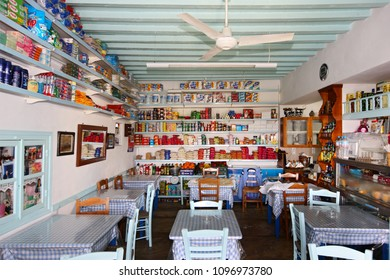 "FOLEGANDROS ISLAND, CYCLADES, AEGEAN SEA, GREECE- April 19, 2008. An ""all-in-one"" shop (grocery, mini market, café, tavern) typical of remote Greek villages, in Ano Mera village."