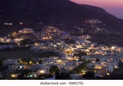 folegandros town at twilight