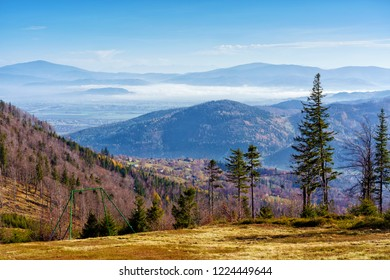 Foliage colors in Polish Beskidy mountains, Beskid Slaski, Poland