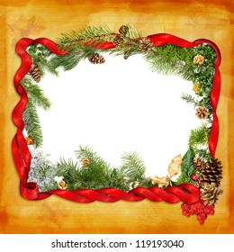 Foliage and ribbon Christmas frame over hand painted gold background