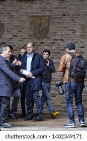 FOLIGNO, PERUGIA/ITALY, MAY 19, 2019: Nicola Zingaretti arriving at Palazzo Trinci in Foligno to support the electoral campaign of his candidate for mayor of his coalition Luciano Pizzoni
