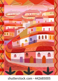 Folk Art Illustration of Mexican Hill Town