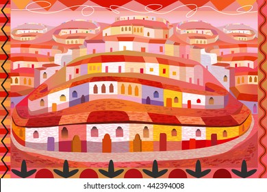 Folk Art Illustration of Mexican Houses on Hills
