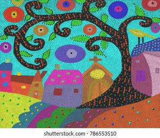 Folk art theme of a village and its big tree in an aboriginal dot painting style.