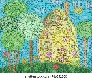 A Folk Art Village House  painting done in a dot painting style.