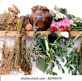folk medicine.green pharmacy. alternative medicine.shelf of witch-doctor