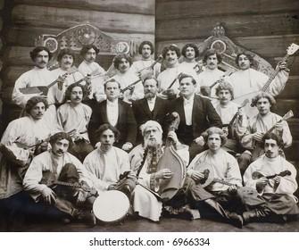 folk orchestra - old photo 1904y.