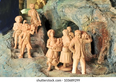 Folk Wallachian woodcut nativity scene in Horni Lidec, Czech republic - 1