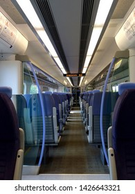 Folkestone / UK - June 20 2016: Interior of train carriage on High Speed 1 line in Kent UK