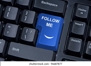 Follow me computer keyboard button. The concept of social networks.