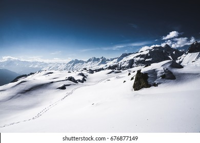 Follow My Footsteps - snowshoe trail in the Bettmeralp area, Valais, Switzerland