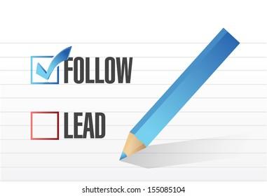 follow over lead check mark selection. illustration design