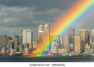 Follow the Rainbow to the Emerald City!  What a great welcome home after long travels.