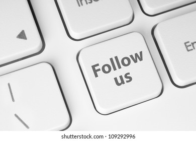 Follow us button on keyboard background