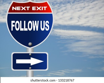 Follow us road sign