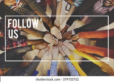 Follow us Share Follower Join us Concept