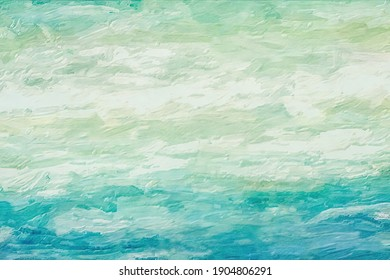 Follow the waves as they drift out to sea.  This abstract has textured brush strokes to indicate moving water and the beautiful green colors are lovely.