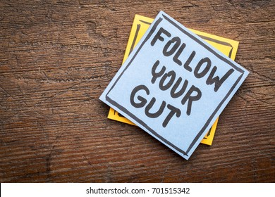 Follow your gut advice or reminder - handwriting on sticky note against rustic wood