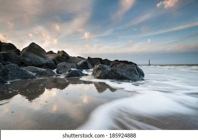 Folly Beach Charleston Harbor Morris Island Lighthouse Sunset Landscape