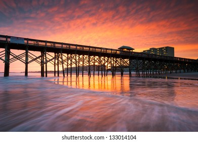 Folly Beach Pier Charleston South Carolina Vibrant Sunset on the Beach