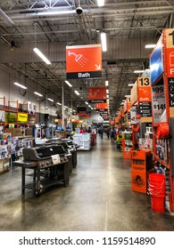FOLSOM, CA, USA - AUG 18, 2018: The Home Depot Store interior shopping at main aisle.