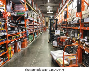 FOLSOM, CA, USA - AUG 18, 2018: The Home Depot Store interior shopping aisles of tiles