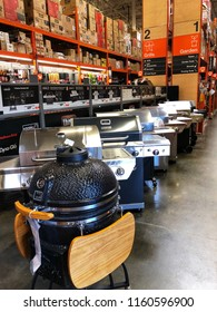 FOLSOM, CA, USA - AUG 18, 2018: The Home Depot Store interior shopping aisles of bbq grills