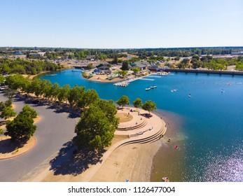 FOLSOM, CA, USA - JUN 24, 2018: Aerial Drone View of Sacramento State Aquatic Center Docks and beach