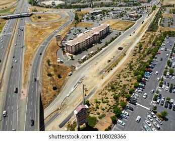 FOLSOM, CA, USA - JUN 6, 2018: Aerial drone view of Highway 50 overpass