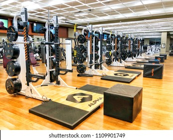 FOLSOM, CA, USA - JUN 9, 2018: Lifetime Fitness gym workout area for weight lifting.