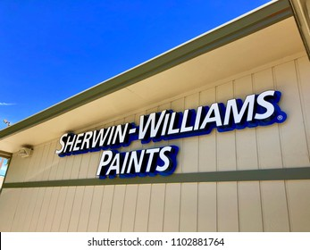 FOLSOM, CA, USA - MAY 31, 2018: Sherwin Williams Paints logo on store front sign.