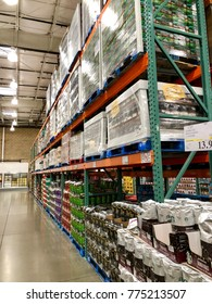 FOLSOM, CALIFORNIA, USA - DEC 14, 2017: Costco wholesale warehouse shopping aisle for coffee, a members only club.