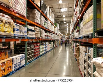 FOLSOM, CALIFORNIA, USA - DEC 14, 2017: Costco wholesale warehouse shopping aisle for fruits and vegetables, a members only club.