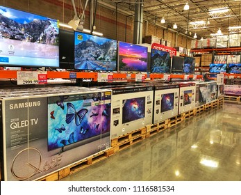 FOLSOM, CALIFORNIA, USA - MAY 22, 2018: Costco wholesale warehouse shopping aisle for television and eletronics, a members only club.