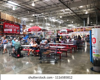 FOLSOM, CALIFORNIA, USA - MAY 22, 2018: Costco wholesale warehouse shopping food court and restaurant, a members only club.