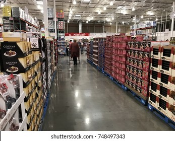 FOLSOM, CALIFORNIA, USA - OCT 3, 2017: Costco wholesale warehouse shopping aisle for chocolates and biscuits for Christmas,  a members only club.
