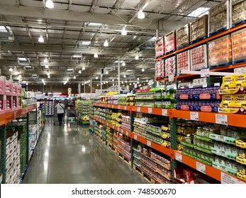 FOLSOM, CALIFORNIA, USA - OCT 3, 2017: Costco wholesale warehouse shopping aisle for drugs and vitamins on the pharmacy area,  a members only club.